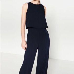 NWT Zara Navy Blue open black Jumpsuit